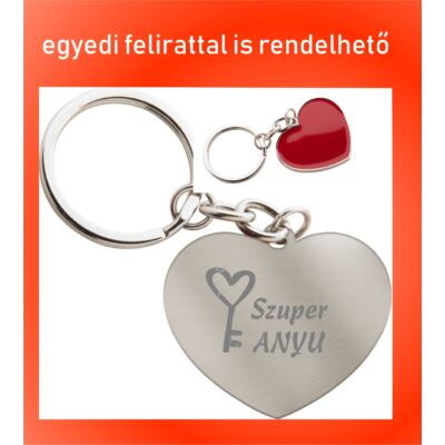 Szív alakú kulcstartó Anyák napjára - Szuper Anyu/Nagyi felirattal