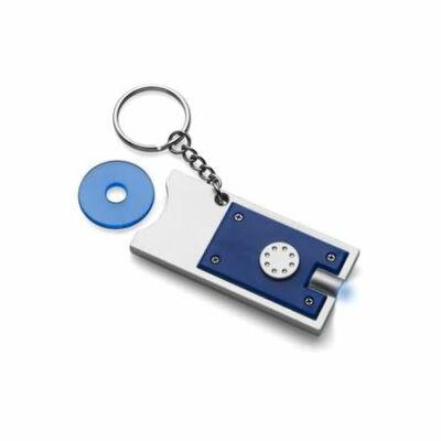 Kulcstartó érmetartóval és led lámpával