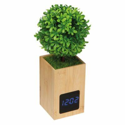 Bambusz asztali óra, műnövénnyel